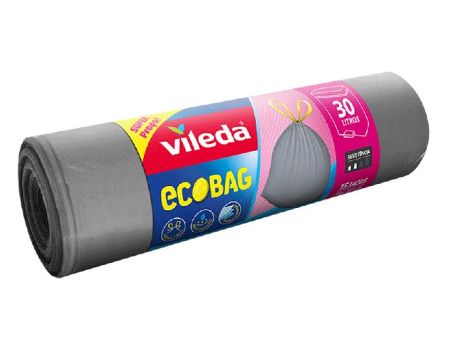 SACOS LIXO C/FECHO VILEDA 55X55 30L 15UN C/20