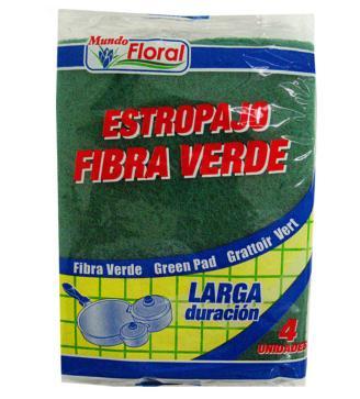 ESFREGAO FIBRA VERDE MUNDO FLORAL 4UN C/30