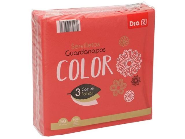 GUARDANAPOS COLOR VERMELHOS DIA 33X33 C/7
