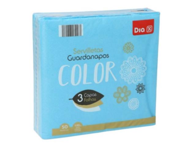GUARDANAPOS COLOR AZUIS DIA 33X33 C/7