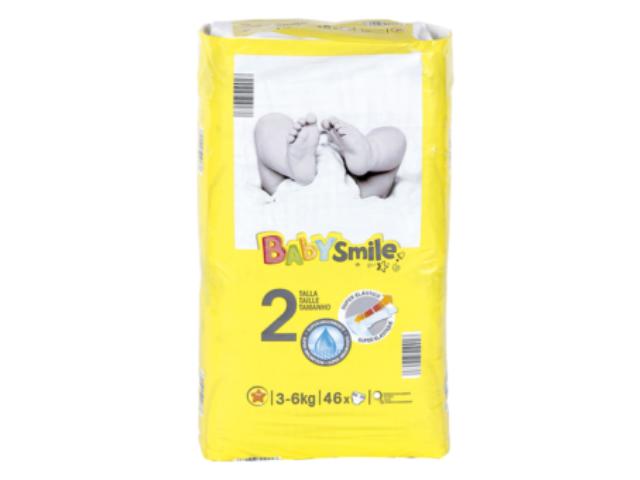 FRALDAS BABY SMILE T2 3-6KG 46UN C/3